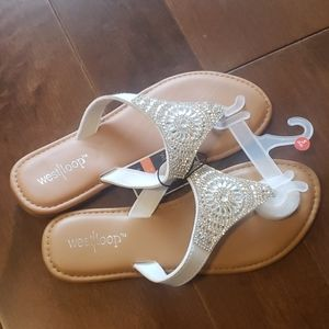 💜NWT West Loop Womens Rhinestone Jeweled Sandals